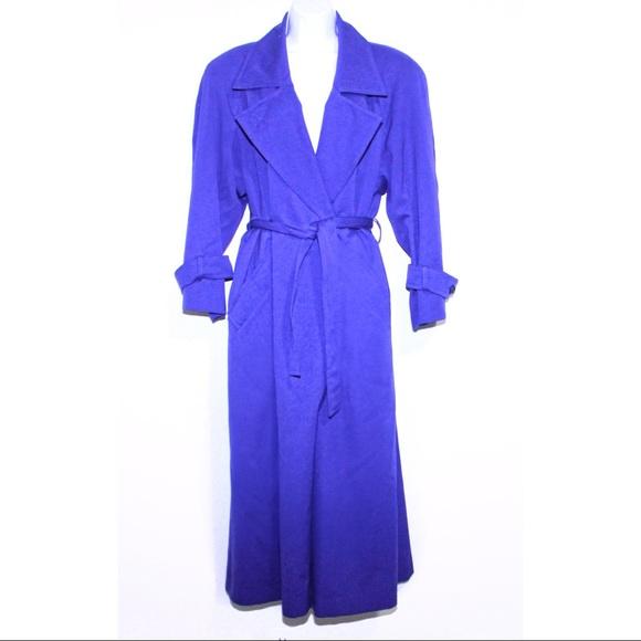 bill blass Jackets & Blazers - Vintage Wool Bill Blass Royal Blue 1980's Trench